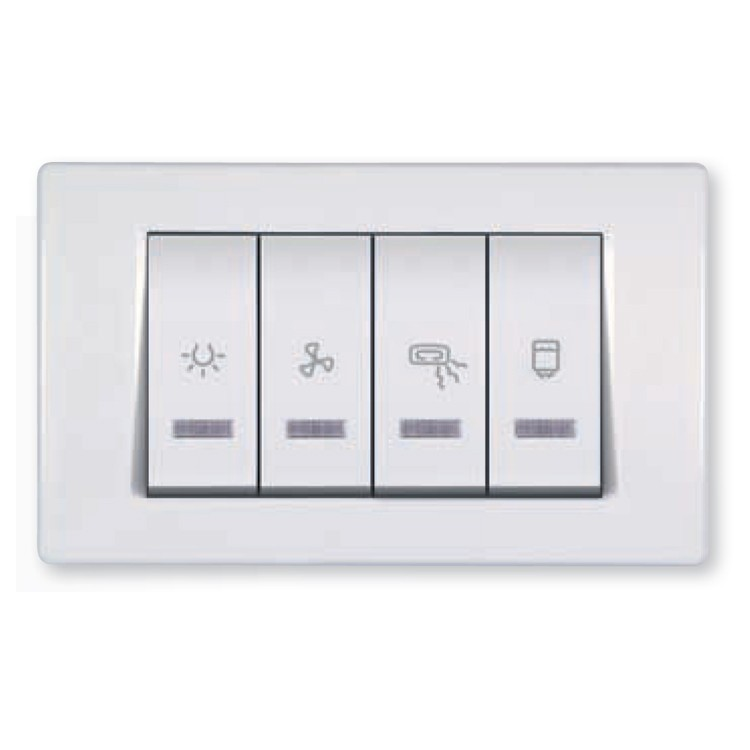 Bathroom Switch With Indication For Four Independent Circuits 10 2x16ax 250v Light Fan