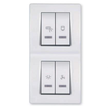 Sklopka za kupatilo sa indikacijom za cetiri nezavisna kruga 2x10/2x16A 250V~ (svetlo, ventilator, grejalica, bojler)