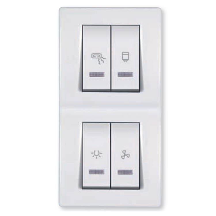 Bathroom Switch With Indication For Four Independent Circuits 2x10 2x16a 250v Light