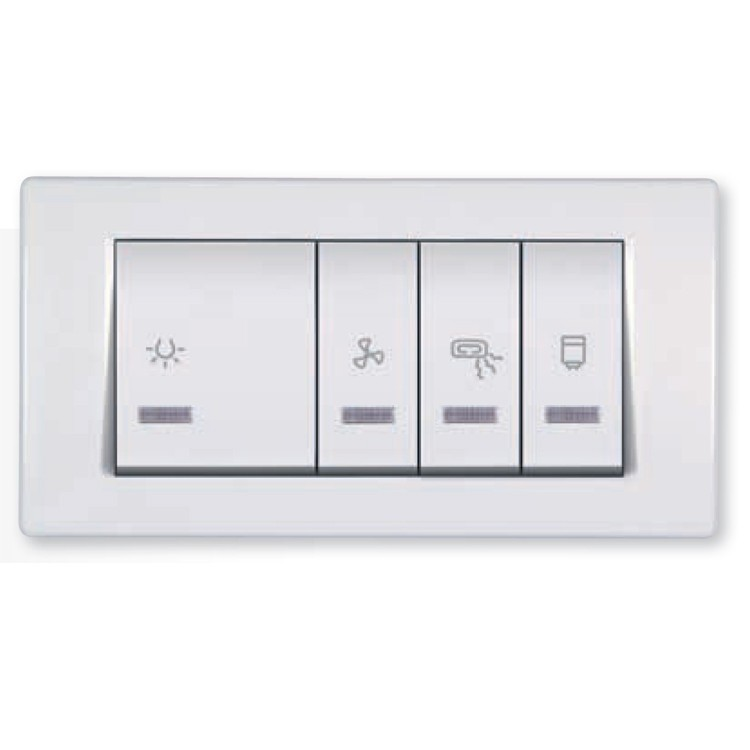 Bathroom Switch With Indication For Four Independent Circuits 2x10 2x16ax 250v Light Wide